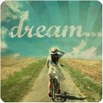 Аватар Девушка на велосипеде остановилась на просёлочной дороге и придерживая рукой соломенную шляпу смотрит на набо.(dream.../мечта...)