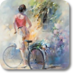 Аватар Девушка на велосипеде остановилась у открытого окна дома