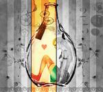Аватар Девушка, сидящая в бутылке. Арт с цветной полосой