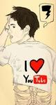 Аватар Парень в майке I Love YouTube  / Я люблю ютуб