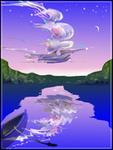 Аватар Летучий корабль в небе над озером