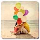 Аватар Парочка сидит на пляже, скрывшись за шариками