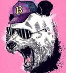 Аватар Панда в кепке и очках с раскрытой пастью