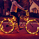 Аватар Девушка едет на горящем велосипеде