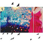 Аватар Девушка в розовом платье на фоне огней и капель на стекле, вокруг птицы (All about you / Все напоминает о тебе)