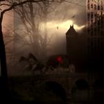 Аватар Карета с двумя ломадями мчится по мостовой от замка