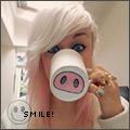 Аватар Девушка пьет из чашки со свиным пяточком (Smile / Улыбнись)