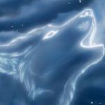 Аватар Силуэт воющего волка из облаков, на фоне ночного неба