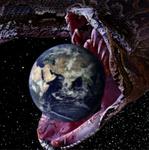 Аватар Змея с огромной пастью проглатывает планету Земля
