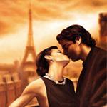 Аватар Парень и девушка целуются на фоне Эйфелевой башни