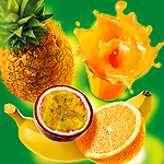 Аватар Ананас, банан, апельсин, маракуйя и сок мультифрукт в стакане