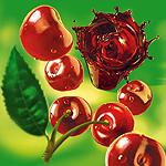 Аватар Вишенки с зеленым листочком и вишневый сок в стакане
