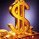 Аватар Золотой знак доллара стоит на золотых слитках с монетами
