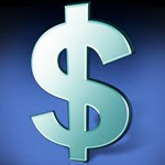 Аватар Серебряный знак доллара на синем фоне