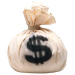 Аватар Завязанный светлый мешок денег с размытым знаком доллара