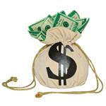 Аватар Мешок долларов с завязками с торчащими из него купюрами на белом фоне