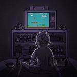 Аватар Мальчик сидит перед телевизором и играет в Марио / Mario