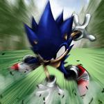 Аватар Соник бежит по зеленой траве из игры Sonic Adventure 2 / Приключения Соника 2