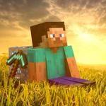 Аватар Персонаж игры Шахтёрское ремесло / Майнкрафт / Minecraft сидит в пшеничном поле на закате