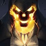 Аватар Светящийся огненный череп в капюшоне
