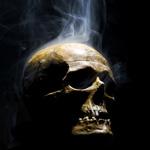 Аватар Дымящийся человеческий череп на черном фоне