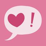 Аватар Сердце и восклицательный знак в диалоговом облачке на розовом фоне