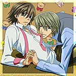 Аватар Акихико Усами / Usami Akihiko держит во рту розовый галстук Мисаки Такахаси / Misaki Takahasi, аниме 'Чистая романтика / Junjou Romantica'