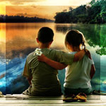 Аватар Мальчик с девочкой сидят обнявшись на  деревянном мостике на берегу красивого озера