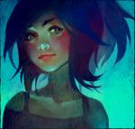 Аватар Девушка с синими волосами и зелеными глазами