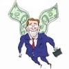 Аватар Мужчина в синем деловом костюме и с кейсом в руках летит на крыльях в виде долларов