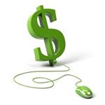Аватар Деньги в интернете с компьютерной мышью, которой можно управлять своими электронными сбережениями