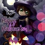 Аватар Ведьмочка с летучей мышью сидит на тыкве на фоне ночного неба (Happy Hallowe'en)