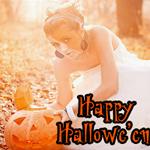 Аватар Девушка осенью в листве с тыквой (Happy Hallowe'en)
