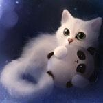 Аватар Белый котёнок держит в лапах игрушечного панду, art by Apofiss