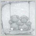 Аватар Два медвежонка обнявшись сидят на качелях, привязанных к ветке дерева, и смотрят на падающий снег