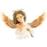 Аватар Девушка с крыльями на спине и нимбом над головой