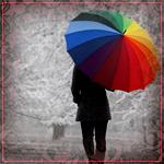 Аватар Девушка с разноцветным зонтом