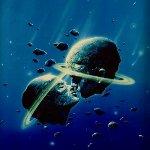 Аватар Два астероида, окруженных газовыми кольцами, в форме мужской и женской головы, сблизившихся для поцелуя, художник Войтек Суидмак / Woitek Suidmak
