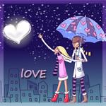 Аватар Парень и девушка под зонтиком гуляют по ночному городу (Love / Любовь)