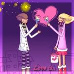 Аватар Парень и девушка раскрашивают розовой краской сердечко на фоне звездного неба (Love is.. / Любовь это..)