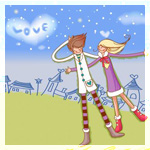 Аватар Парень и девушка на фоне города и нежно-голубого неба, на котором облако в виде сердечка (Love / Любовь)