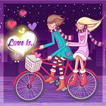 Аватар Парень везет девушку на велосипеде по ночному городу (Love is.. / Любовь это..)