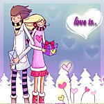 Аватар Парень и девушка стоят спиной друг к другу, девушка держит в руках подарок, а парень конверт (Love is.. / Любовь это...)