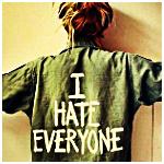 Аватар Девушка в кофте с надписью I hate everyone / Я ненавижу всех