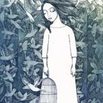 Аватар Девушка держит в руке клетку, а позади нее летают птицы