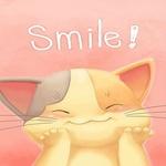 Аватар Котик улыбается положив лапки к щекам ('Smile')