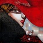 Аватар Девушка в красной шляпе с бабочкой на руке в красной перчатке, художница Ira Tsantekidou