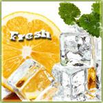 Аватар Разрезанный апельсин, кубики льда и мята в каплях воды на белом фоне (Fresh / Свежесть)