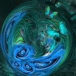 Аватар Бабочки и цветы изображены на шаре, работа Carmen Velcic