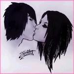 99px.ru аватар Нарисованные парень и девушка целуются